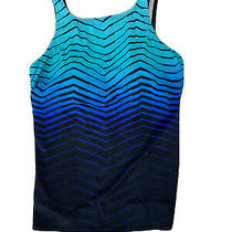 Reebok Women's Cosmic Wave Scoop Neck Tankini Swim Suit Top 16 Black Blue Photo