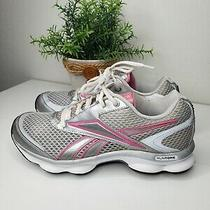 Reeboks Wms Runtone Jog Walk Play Athletic Pink & Silver Comfort Sneakers Size 8 Photo