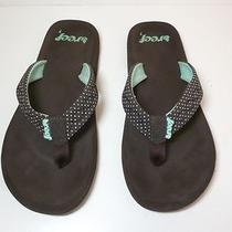 Reef Seaside Brown & Aqua Polka-Dot Sandals Flip Flops Thongs Womens Size 7 Photo