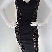 Reem Acra New York Black Lace Short Cocktail Evening Formal Strapless Dress  Photo