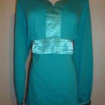 Reference Point Womens Sz 3x Knit Top Shirt Blouse Satin Trim Blue Long Sleeve Photo