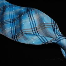 Refreshing Burberry Mens Aqua Blue Pindot Ocean Nova Tartan Plaid Silk Tie Nr Photo