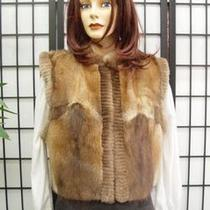 Refurbished Muskrat & Sh. Beaver Fur Vest Women Sz8 Photo