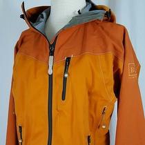 Rei E1 Elements Orange Full Zip Hooded Rain Jacket Coat Woman Sz M Windbreaker Photo