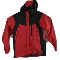 Rei E1 Elements Women's Red Black Waterproof Nylon Full Zip Hooded Jacket Size M Photo