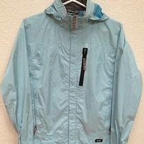 Rei Elements E1 Rain Wind Light Blue Jacket Girls Large 12-14- Taped Seams- Nice Photo