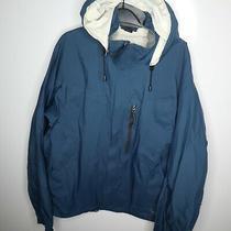 Rei Elements Men's Blue Full Zip Up 100% Nylon Hooded Rain Jacket Coat Size L Photo