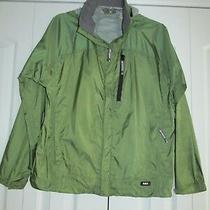 Rei Elements Size Xl Youth Boys Green Waterproof Hooded Rain Jacket Photo