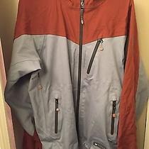 Rei Elements Snow Ski Shell Jacket Hooded Taped Zip Men's Large Gray/burgundy. Photo