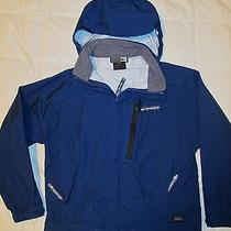 Rei Elements Youth Size S (6/7) Blue Rain Jacket W/ Earphone Port.  Worn Twice Photo