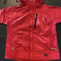 Rei Rain E1 Elements Rain Jacket Red Hooded - Size Youth Large 12/14 Euc Photo