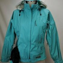 Rei Womens Elements E1 Waterproof Rain Jacket Sz Xs Aqua Blue Raincoat Hood Zip Photo