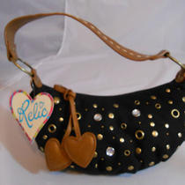 Relic by Fossil Black Canvas Hobo Studded Eyelet and Riveted Decor Purse Handbag Photo