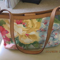 Relic by Fossil Bright and Colorful Floral Purse With Camel Colored Trim Photo