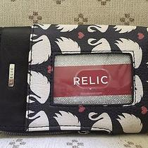 Relic by Fossil Caraway Wristlet Outside Window Slot  Swans & Hearts New Photo