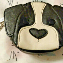 Relic by Fossil Critter Coin Purse Black & White Dog Puppy Zipper Key Ring  Photo