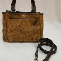 Relic by Fossil Crossbody Purse Handbag Tooled Embossed Brown Leather Paisley Photo