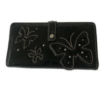 Relic by Fossil Faux Leather Wallet Black Butterfly Card Organizer Bi-Fold Snap Photo