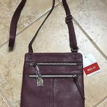 Relic by Fossil Finley Collection Mini Messenger Crossbody Bag Raisin  New Photo