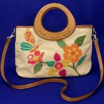 Relic by Fossil Floral Canvas Wood Ring Satchel Bag Crossbody Purse Med 68 Exc Photo