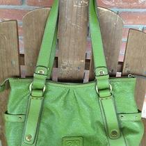 Relic by Fossil Green Floral Paisley Embossed Faux Leather Satchel Handbag Photo