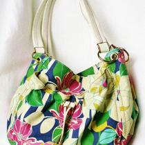 Relic by Fossil Large Canvas Floral Handbag - Blue Pink White -  Double Handle Photo