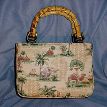 Relic by Fossil Sculpted Canvas Safari Print Purse Handbag With Bamboo Handles Photo