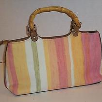 Relic by Fossil Striped Canvas Handbag With Wooden Handles Super Cute  Photo