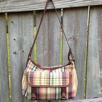 Relic by Fossil Tan Plaid Purse With Faux Leather Trim and Strap Photo