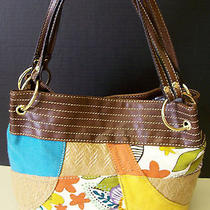 Relic by Fossil Wicker Straw Cotton Patchwork Shoulder Bag Handbag Purse Tote   Photo