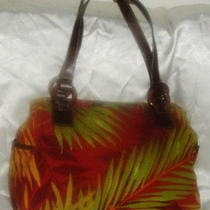 Relic Fossil Large Cloth Handbag Purse 3 Compartment Brown Green Orange 9.5