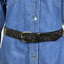 Relic Fossil Womens Butterfly Belt   Black   Etched  Studded   Size L (43) Photo
