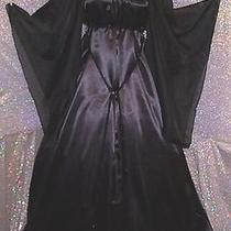 Renaissance Fantasy New Black  Satin  Gown Costume Dress Butterfly Sleeves Photo