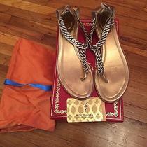 Rene Caovilla Chain With Swarovski Crystals Flat Thong Sandals Sz 38 Photo