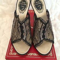 Rene Caovilla Lace Corset Slides Swarovski Crystals 38.5 Euc Photo