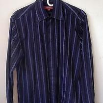 Report Collection Men's Button Up Shirt (Dark Blue) Medium  Like New Dkny Photo
