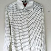 Report Collection Men's Button Up Shirt White Stripes Medium  Like New Dkny Photo