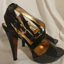 Report Signature Black Patent Leather High Heel Platform Ankle Sandals Size 7 Photo