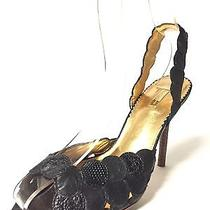Report Signature Black Python Platform Stilettos Slingback Open Heels Size 7 M Photo