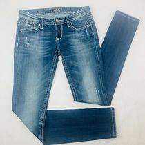 Rerock by Express Womens Jeans 2r Blue Skinny Stretch Med Wash Distressed  Photo