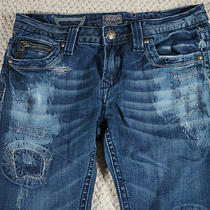 Rerock for Express Jeans Size 4 Skinny 27 Destructed With Bling Patches Photo