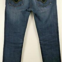 Rerock for Express Jeans Skinny Size 2 Dark Wash Blue Denim Embellished Pockets Photo