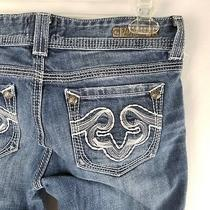Rerock for Express Womens Blue Jeans Sz 2 Flare Thick Stitch Hemmed Denim A11-14 Photo