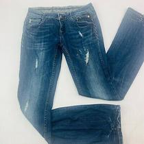 Rerock for Express Womens Jeans 0 Blue Boot Cut Stretch Med Wash Distressed Fade Photo
