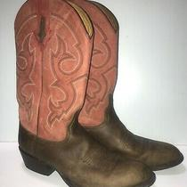 Resitol Ranch Lucchese Size 9 Pink Brown Horse Leather Cowboy Western Boots  Photo