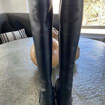 Retail 1750 Chanel Tall High Calfskin Leather Riding Black Boots Size 8/38 Photo
