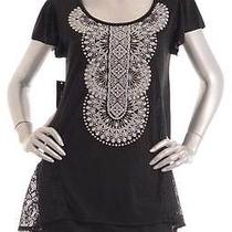 Retail 39 style&co Deep Black Oyster Application Stoned Top Size S Photo