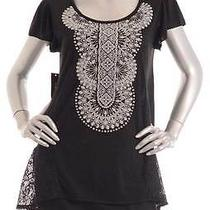 Retail 39 style&co Deep Black Oyster Application Stoned Top Size Pm Photo