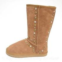 Retail 75 style&co Chestnut Suede Stud Faux Fur Bolted Tan Winter Boots Size 9m Photo