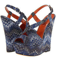 Retail793 Missoni Low Zz Wedge Blue Platforms Wedges Leather Eu 39.5 Us 8.5 New Photo